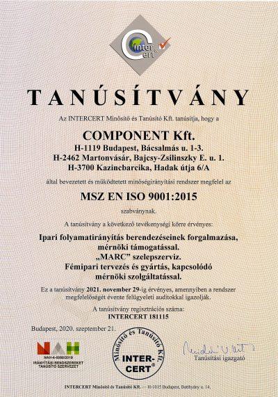 Component ISO tanúsítvány 20211129-ig
